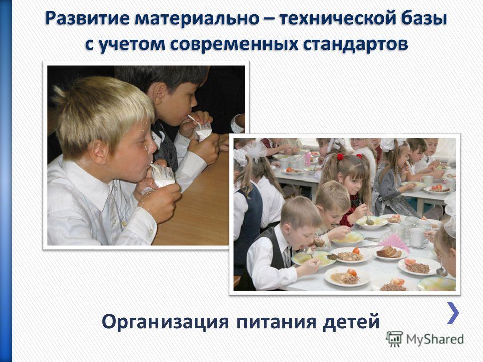 Организация питания детей Развитие материально – технической базы с учетом современных стандартов