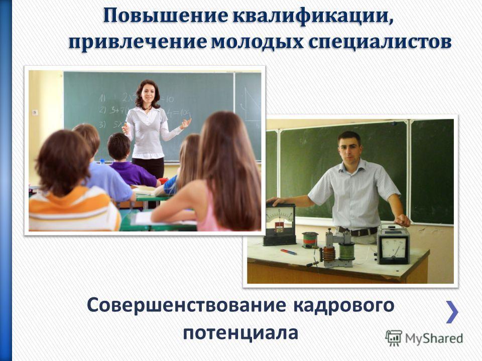 Совершенствование кадрового потенциала Повышение квалификации, привлечение молодых специалистов
