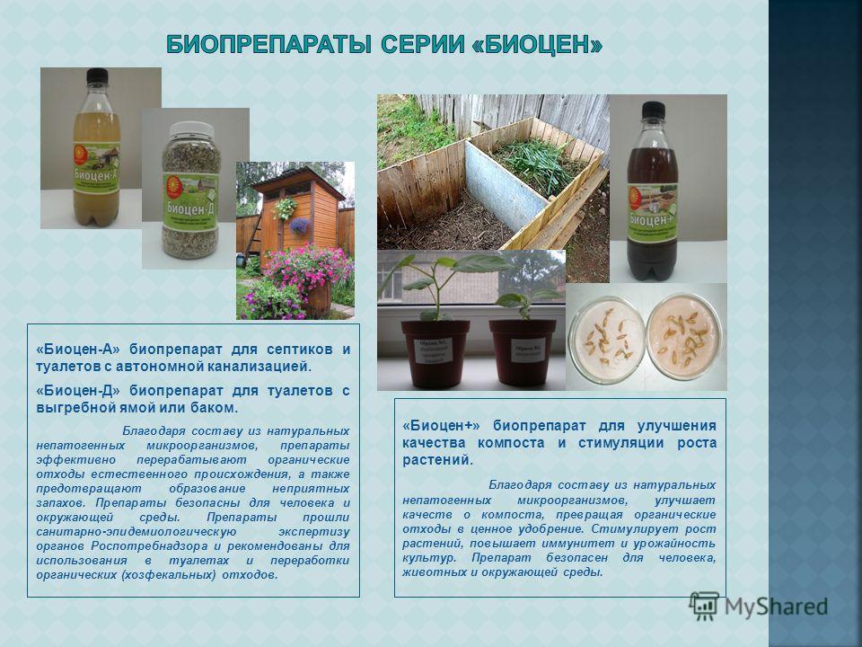 «Биоцен-А» биопрепарат для септиков и туалетов с автономной канализацией. «Биоцен-Д» биопрепарат для туалетов с выгребной ямой или баком. Благодаря составу из натуральных непатогенных микроорганизмов, препараты эффективно перерабатывают органические