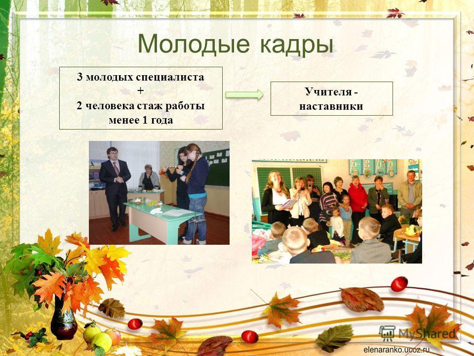 Молодые кадры 3 молодых специалиста + 2 человека стаж работы менее 1 года Учителя - наставники