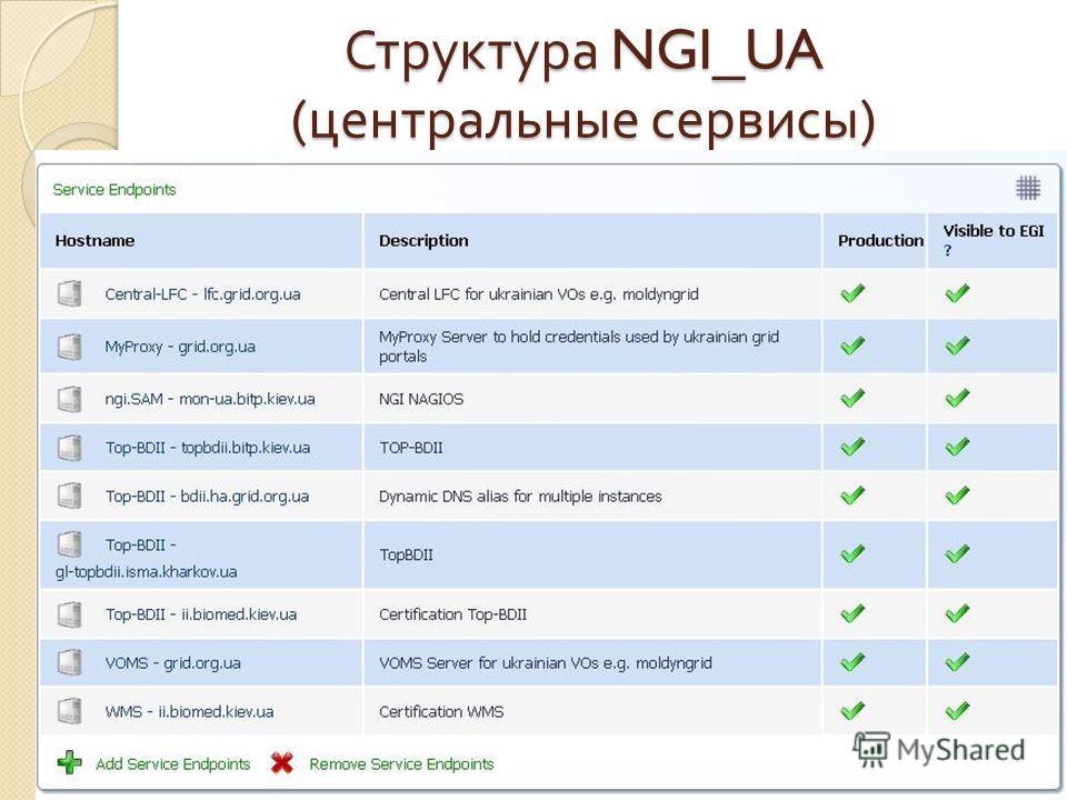 Структура NGI_UA ( центральные сервисы )