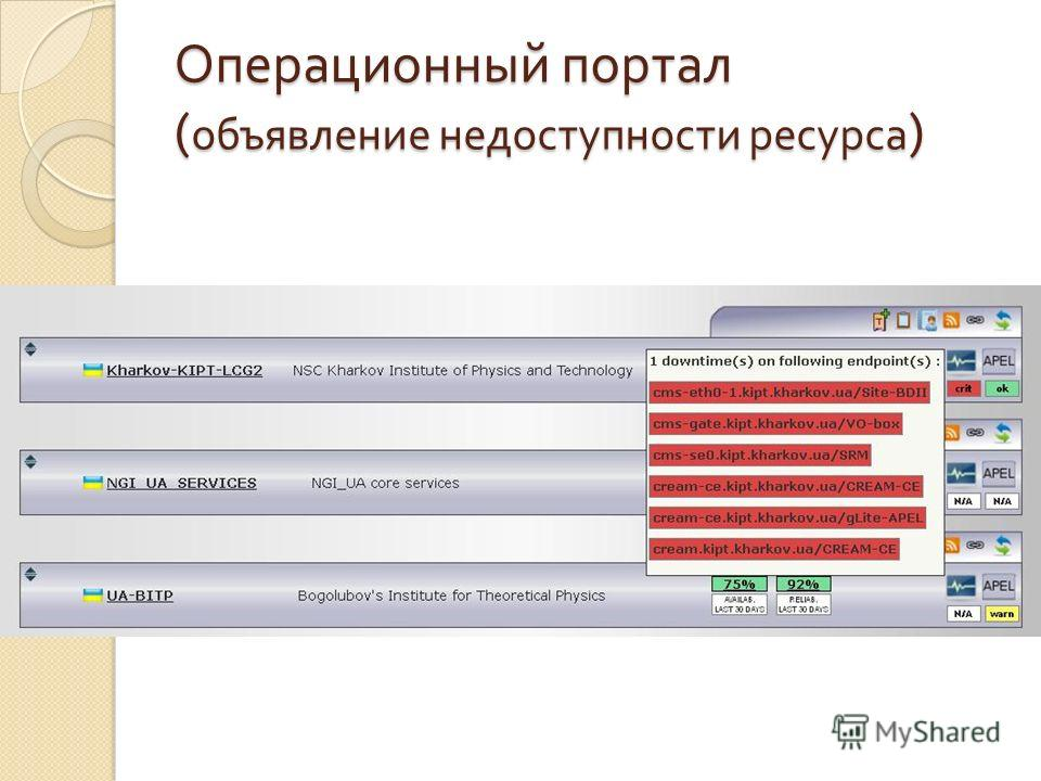 Операционный портал ( объявление недоступности ресурса )
