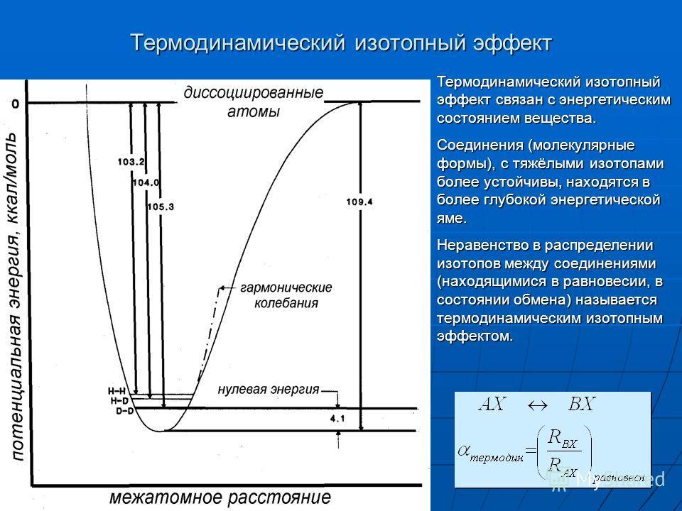 Термодинамический изотопный эффект Термодинамический изотопный эффект связан с энергетическим состоянием вещества. Соединения (молекулярные формы), с тяжёлыми изотопами более устойчивы, находятся в более глубокой энергетической яме. Неравенство в рас