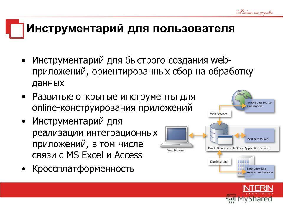 Инструментарий для пользователя Инструментарий для быстрого создания web- приложений, ориентированных сбор на обработку данных Развитые открытые инструменты для online-конструирования приложений Инструментарий для реализации интеграционных приложений