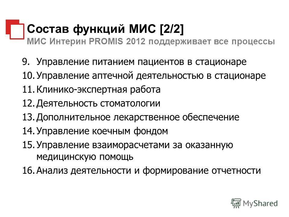 Состав функций МИС [2/2] МИС Интерин PROMIS 2012 поддерживает все процессы 9.Управление питанием пациентов в стационаре 10.Управление аптечной деятельностью в стационаре 11.Клинико-экспертная работа 12.Деятельность стоматологии 13.Дополнительное лека