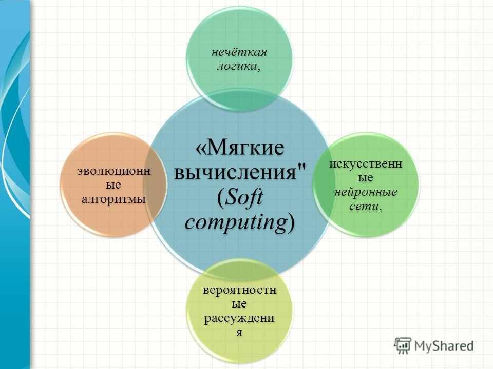 «Мягкие вычисления (Soft computing) нечёткая логика, искусственн ые нейронные сети, вероятностн ые рассуждени я эволюционн ые алгоритмы