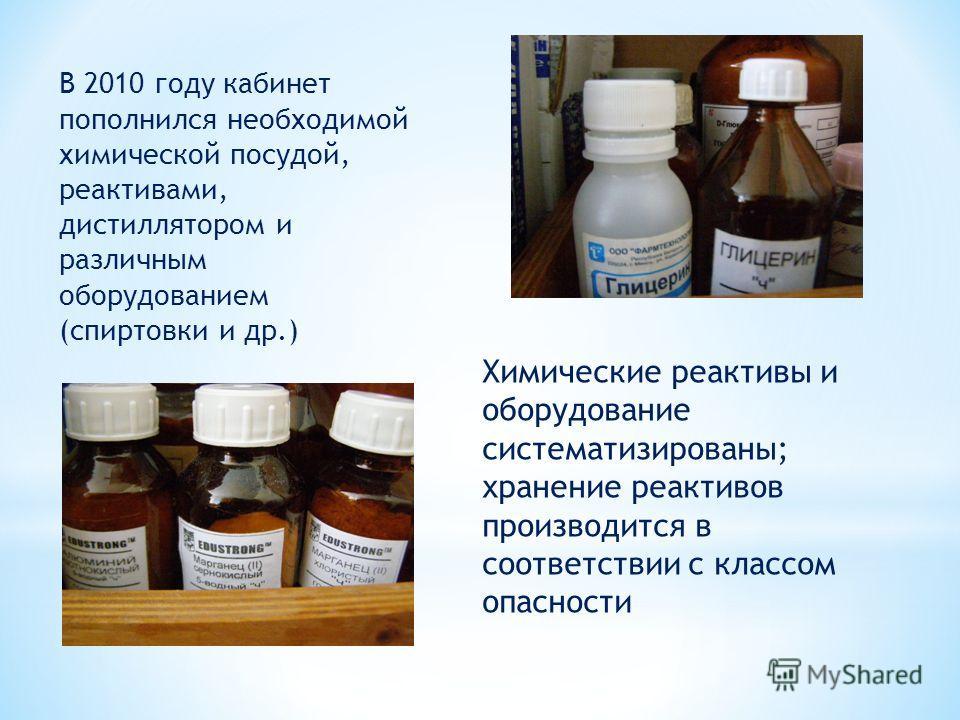 Химические реактивы и оборудование систематизированы; хранение реактивов производится в соответствии с классом опасности В 2010 году кабинет пополнился необходимой химической посудой, реактивами, дистиллятором и различным оборудованием (спиртовки и д