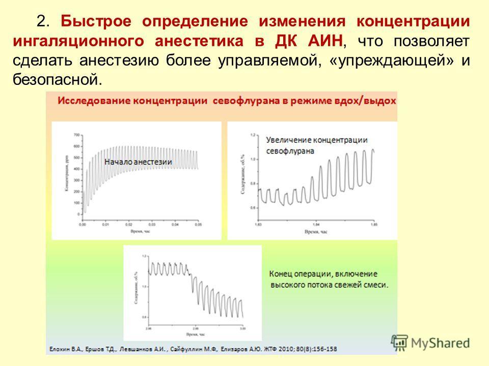 2. Быстрое определение изменения концентрации ингаляционного анестетика в ДК АИН, что позволяет сделать анестезию более управляемой, «упреждающей» и безопасной.
