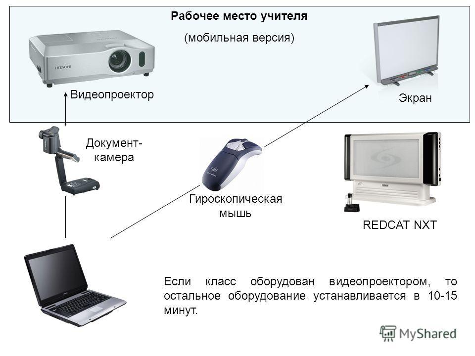 Рабочее место учителя (мобильная версия) Видеопроектор Экран Документ- камера Гироскопическая мышь REDCAT NXT Если класс оборудован видеопроектором, то остальное оборудование устанавливается в 10-15 минут.