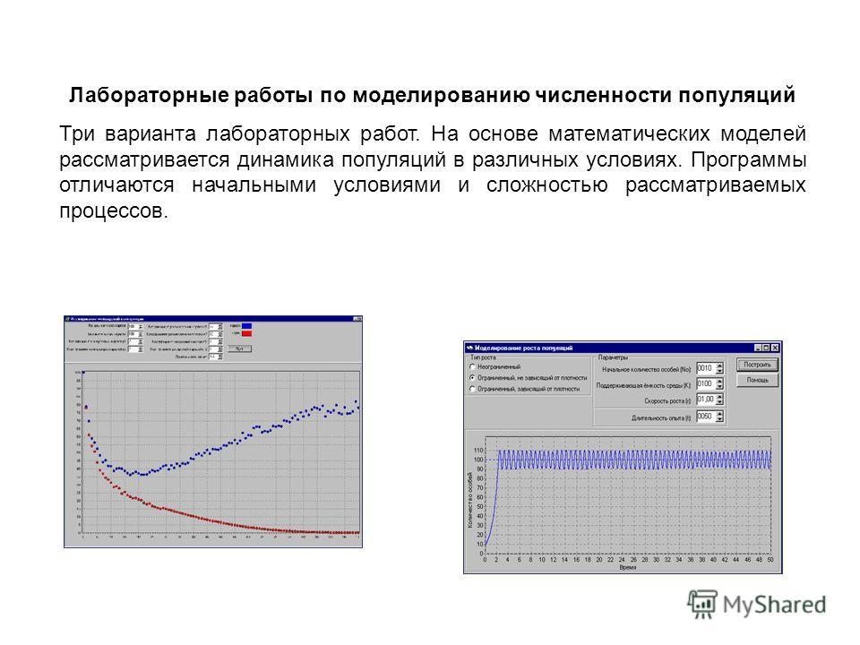 Лабораторные работы по моделированию численности популяций Три варианта лабораторных работ. На основе математических моделей рассматривается динамика популяций в различных условиях. Программы отличаются начальными условиями и сложностью рассматриваем
