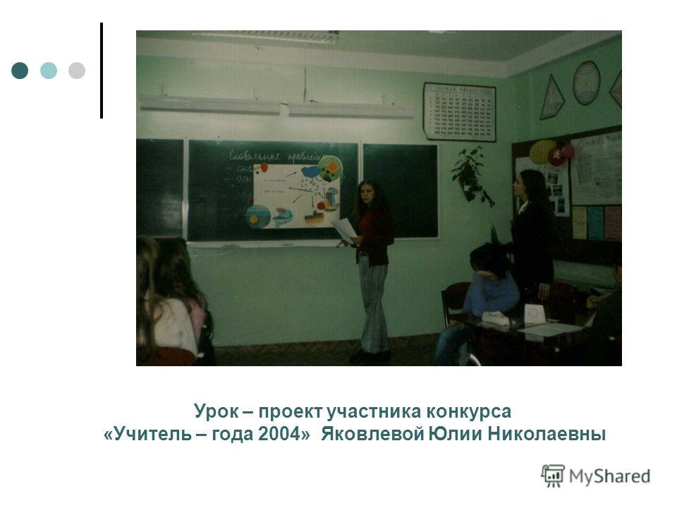 Урок – проект участника конкурса «Учитель – года 2004» Яковлевой Юлии Николаевны