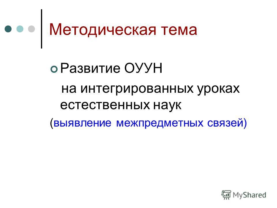 Методическая тема Развитие ОУУН на интегрированных уроках естественных наук (выявление межпредметных связей)