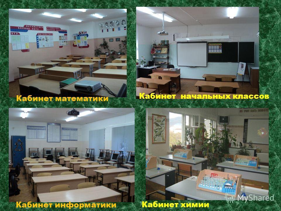 Кабинет математики Кабинет информатики Кабинет химии Кабинет начальных классов