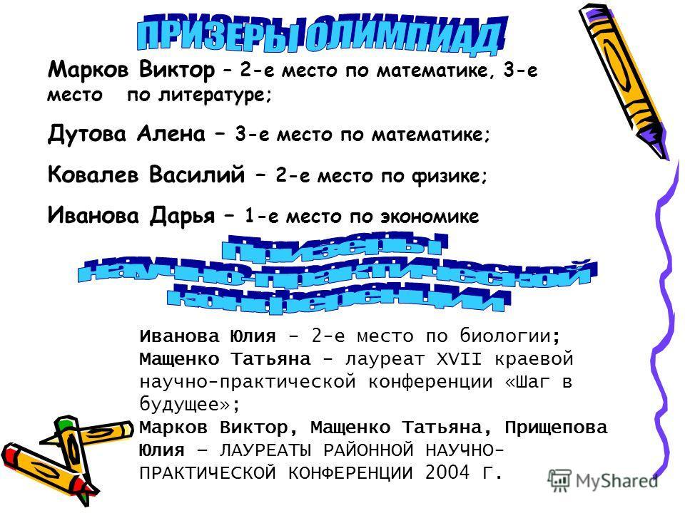 Марков Виктор – 2-е место по математике, 3-е место по литературе; Дутова Алена – 3-е место по математике; Ковалев Василий – 2-е место по физике; Иванова Дарья – 1-е место по экономике Иванова Юлия - 2-е место по биологии; Мащенко Татьяна - лауреат XV