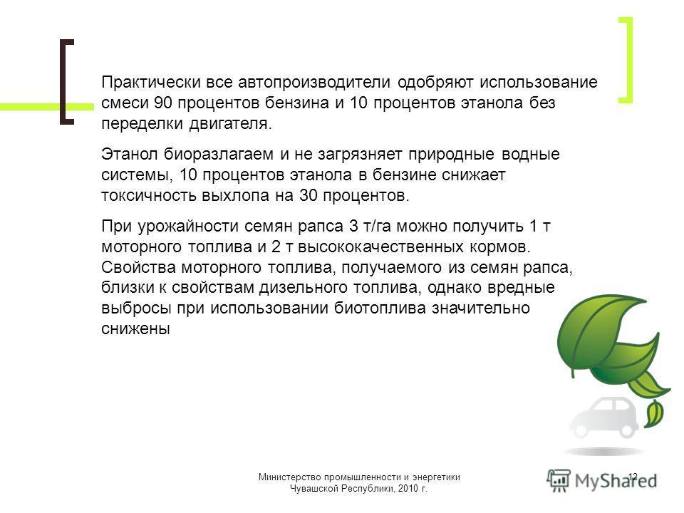 Министерство промышленности и энергетики Чувашской Республики, 2010 г. 12 Практически все автопроизводители одобряют использование смеси 90 процентов бензина и 10 процентов этанола без переделки двигателя. Этанол биоразлагаем и не загрязняет природны