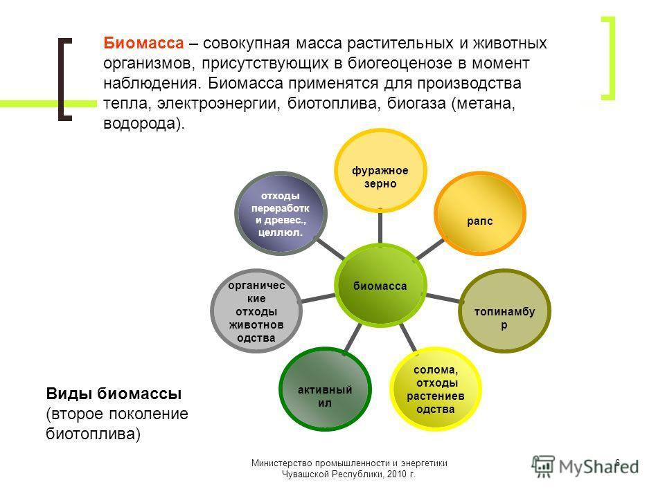 Министерство промышленности и энергетики Чувашской Республики, 2010 г. 6 Биомасса – совокупная масса растительных и животных организмов, присутствующих в биогеоценозе в момент наблюдения. Биомасса применятся для производства тепла, электроэнергии, би