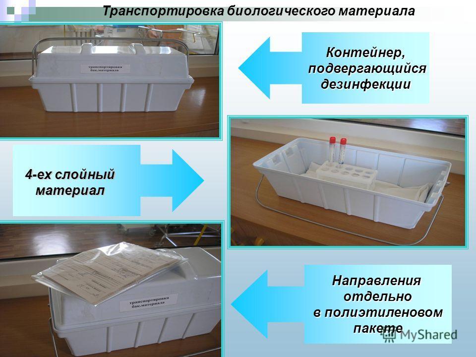 Транспортировка биологического материалаКонтейнер, подвергающийся подвергающийсядезинфекции Направленияотдельно в полиэтиленовом пакете 4-ех слойный материал