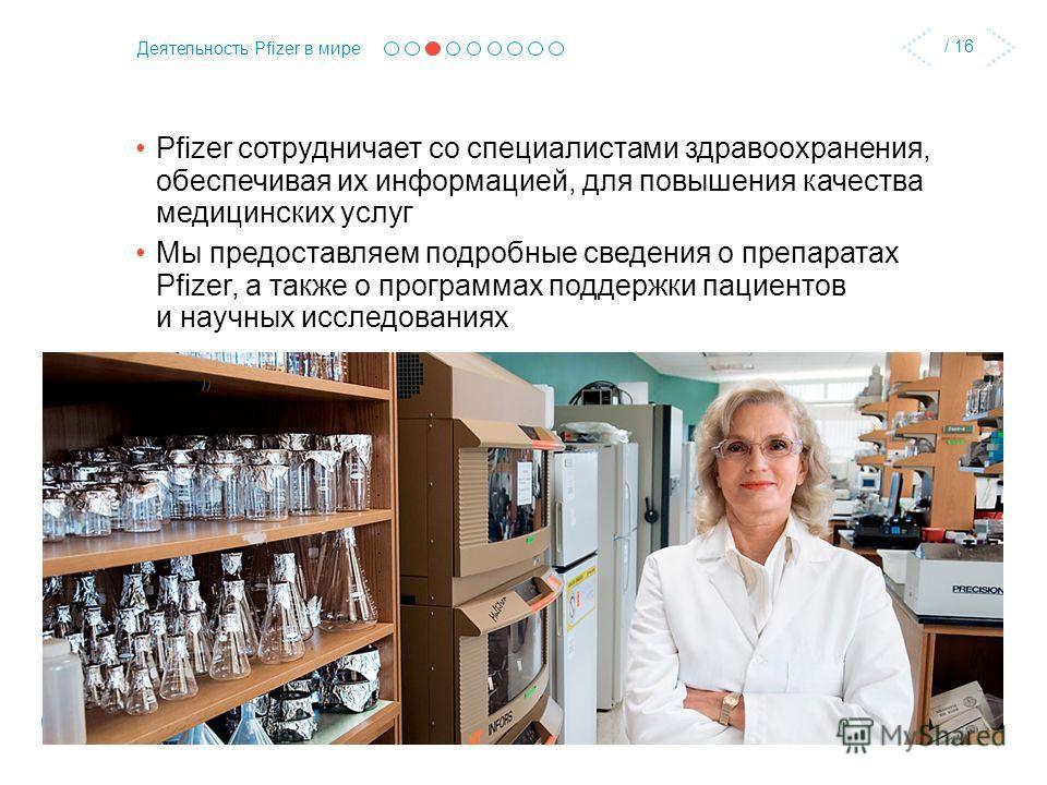 / 16 Деятельность Pfizer в мире Pfizer сотрудничает со специалистами здравоохранения, обеспечивая их информацией, для повышения качества медицинских услуг Мы предоставляем подробные сведения о препаратах Pfizer, а также о программах поддержки пациент