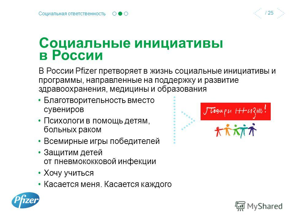 / 25 Социальная ответственность Социальные инициативы в России В России Pfizer претворяет в жизнь социальные инициативы и программы, направленные на поддержку и развитие здравоохранения, медицины и образования Благотворительность вместо сувениров Пси