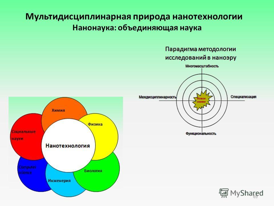 Мультидисциплинарная природа нанотехнологии Нанонаука: объединяющая наука 69