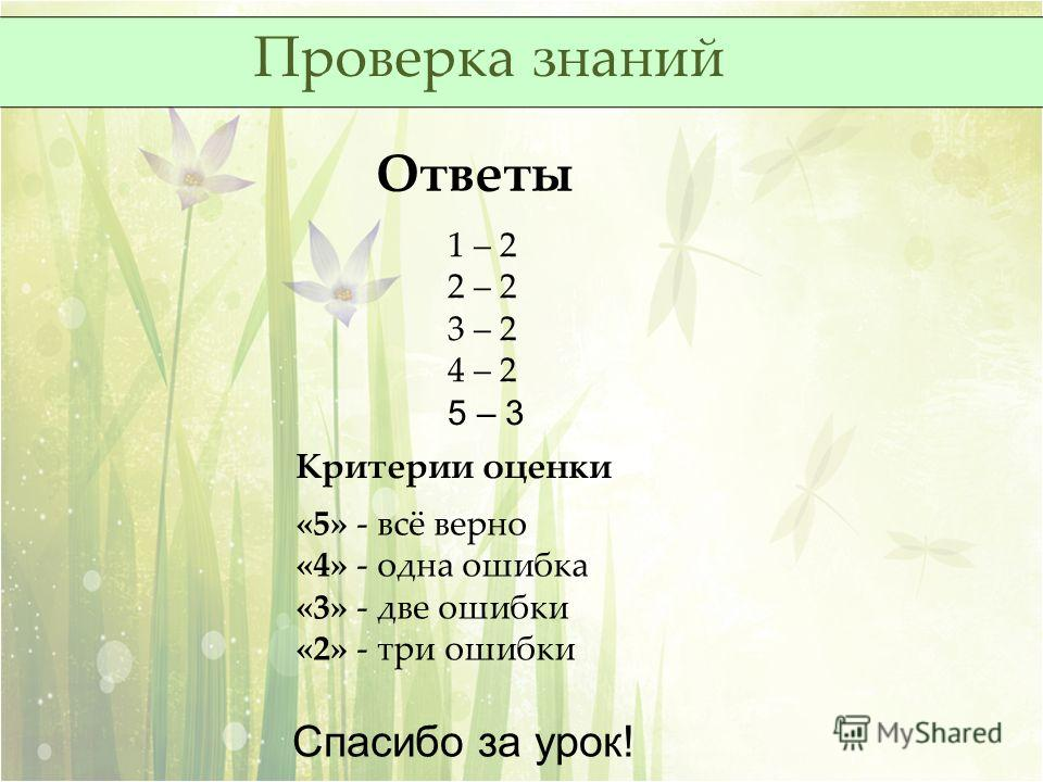 Проверка знаний Ответы 1 – 2 2 – 2 3 – 2 4 – 2 5 – 3 Критерии оценки «5» - всё верно «4» - одна ошибка «3» - две ошибки «2» - три ошибки Спасибо за урок!