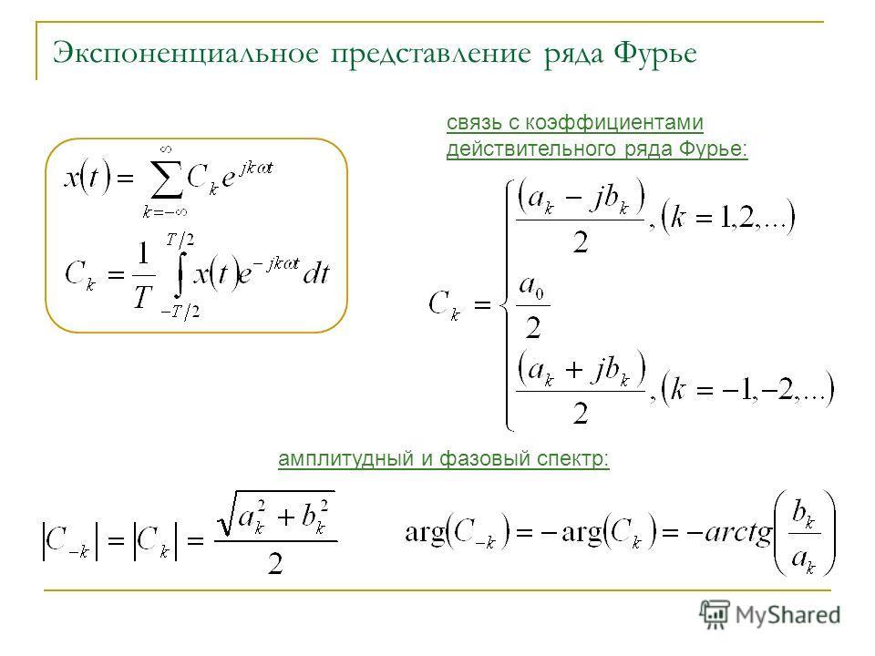 Экспоненциальное представление ряда Фурье амплитудный и фазовый спектр: связь с коэффициентами действительного ряда Фурье: