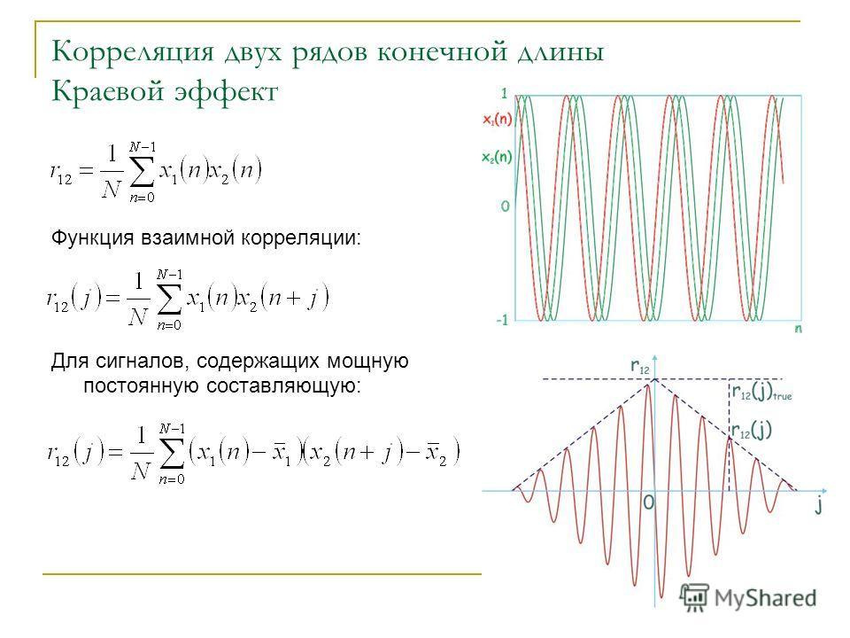 Корреляция двух рядов конечной длины Краевой эффект Функция взаимной корреляции: Для сигналов, содержащих мощную постоянную составляющую: