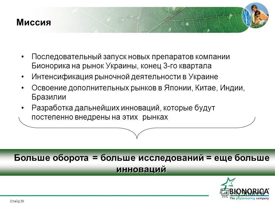 Слайд 39 Миссия Последовательный запуск новых препаратов компании Бионорика на рынок Украины, конец 3-го квартала Интенсификация рыночной деятельности в Украине Освоение дополнительных рынков в Японии, Китае, Индии, Бразилии Разработка дальнейших инн
