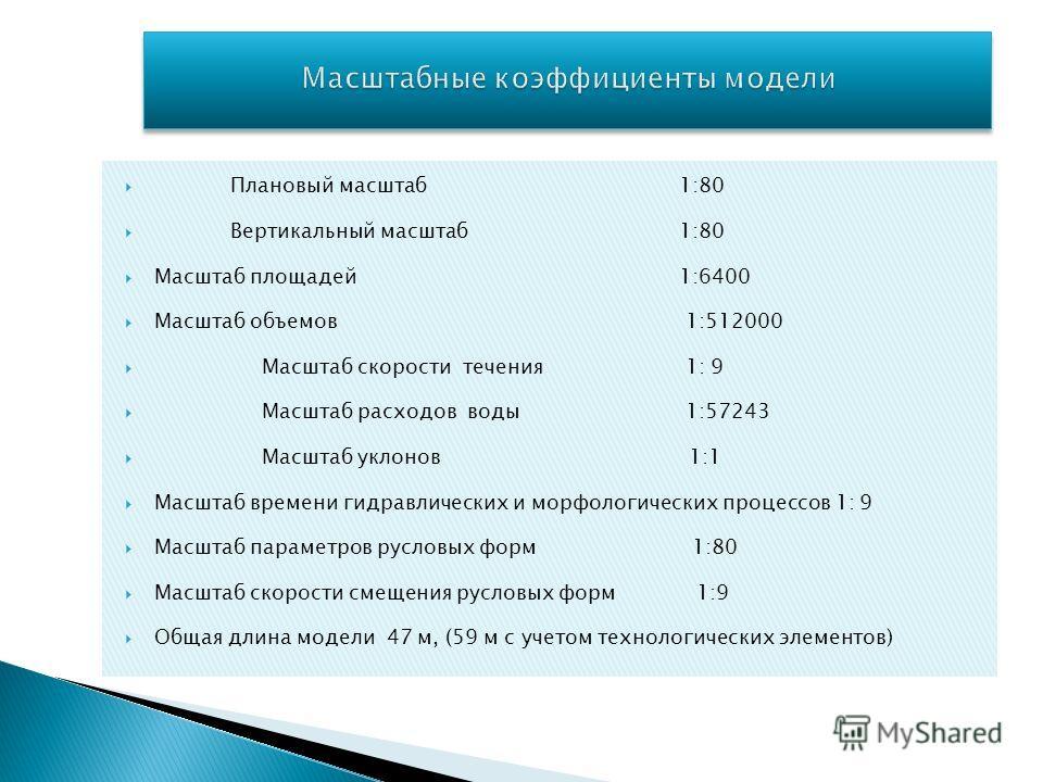 Плановый масштаб 1:80 Вертикальный масштаб 1:80 Масштаб площадей 1:6400 Масштаб объемов 1:512000 Масштаб скорости течения 1: 9 Масштаб расходов воды 1:57243 Масштаб уклонов 1:1 Масштаб времени гидравлических и морфологических процессов 1: 9 Масштаб п