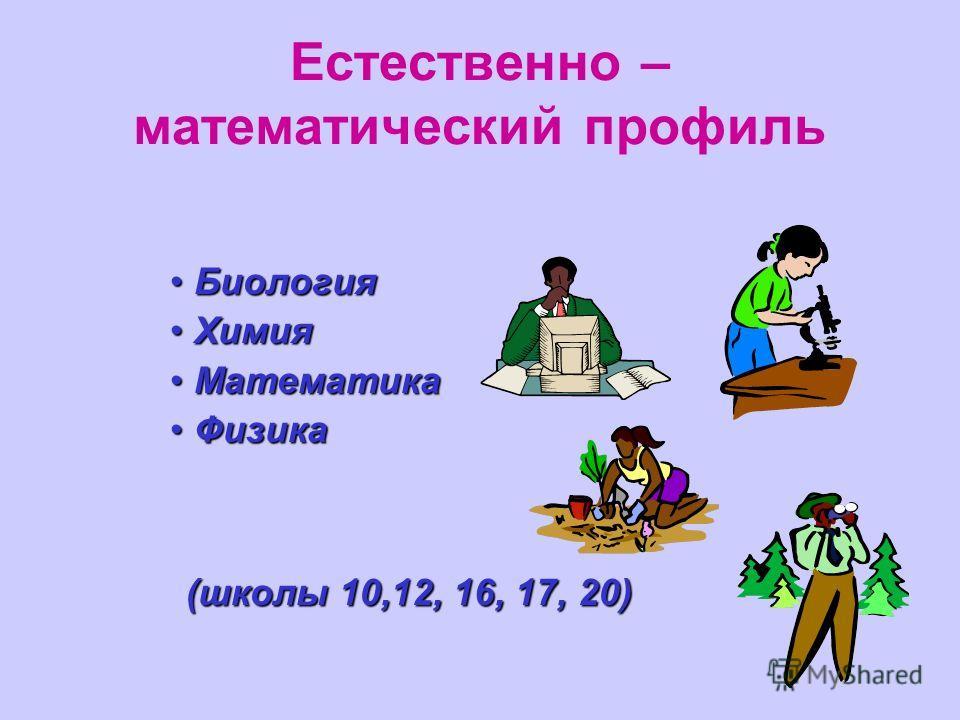 Естественно – математический профиль БиологияБиология ХимияХимия МатематикаМатематика ФизикаФизика (школы 10,12, 16, 17, 20)
