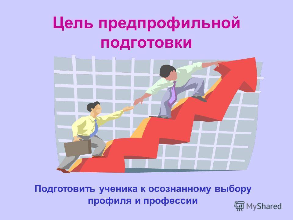 Цель предпрофильной подготовки Подготовить ученика к осознанному выбору профиля и профессии