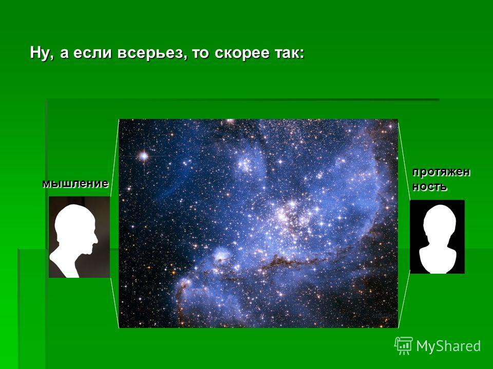 Когда речь идет о мышлении в наиболее всеобщем смысле очевидно, что субъектом этих атрибутов будет Deus sive Substantia sive Natura (Субстанция = Бог = Природа). Можно попытаться представить это следующим образом: мышление протяженность