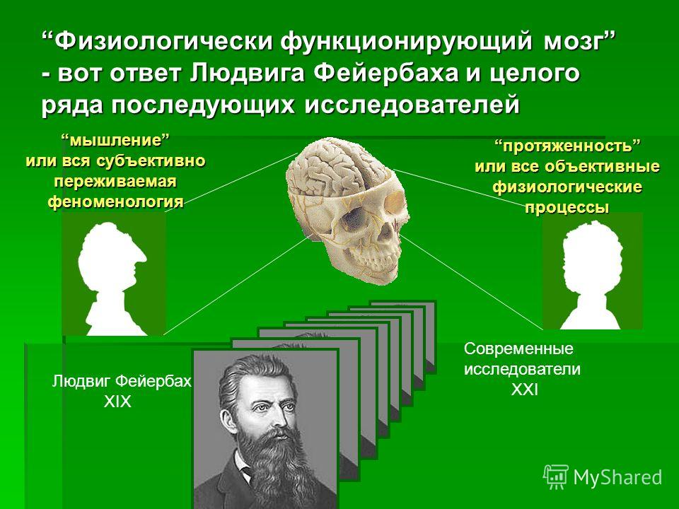 Но если мы имеем дело с конечным модусом мышления, скажем с мышлением человека, что мы должны представлять в качестве субъекта двух спинозовских атрибутивных проекций – мышления и протяженности? ? мышлениепротяженность