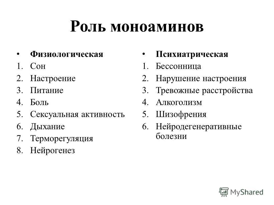 Роль моноаминов Физиологическая 1.Сон 2.Настроение 3.Питание 4.Боль 5.Сексуальная активность 6.Дыхание 7.Терморегуляция 8.Нейрогенез Психиатрическая 1.Бессонница 2.Нарушение настроения 3.Тревожные расстройства 4.Алкоголизм 5.Шизофрения 6.Нейродегенер