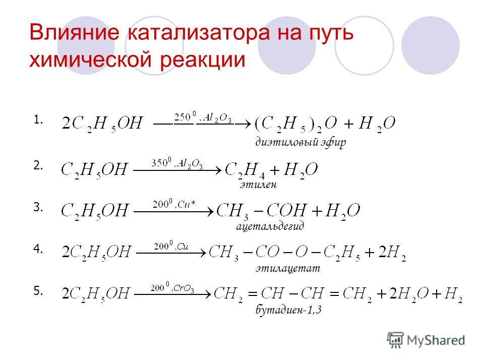 Влияние катализатора на путь химической реакции 1. 2. 3. 4. 5. бутадиен-1,3 этилацетат ацетальдегид этилен диэтиловый эфир