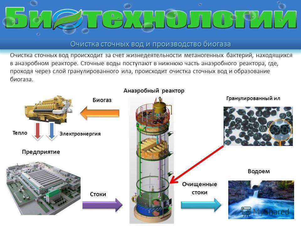 Очистка сточных вод происходит за счет жизнедеятельности метаногенных бактерий, находящихся в анаэробном реакторе. Сточные воды поступают в нижнюю часть анаэробного реактора, где, проходя через слой гранулированного ила, происходит очистка сточных во