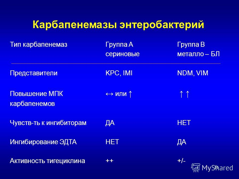 11 Карбапенемазы энтеробактерий Тип карбапенемазГруппа АГруппа В сериновыеметалло – БЛ ПредставителиKPC, IMINDM, VIM Повышение МПК или карбапенемов Чувств-ть к ингибиторамДАНЕТ Ингибирование ЭДТАНЕТДА Активность тигециклина+++/-