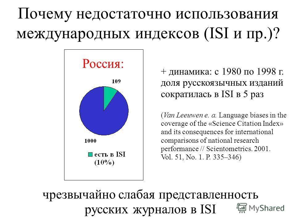 Почему недостаточно использования международных индексов (ISI и пр.)? чрезвычайно слабая представленность русских журналов в ISI Россия: + динамика: с 1980 по 1998 г. доля русскоязычных изданий сократилась в ISI в 5 раз (Van Leeuwen e. a. Language bi