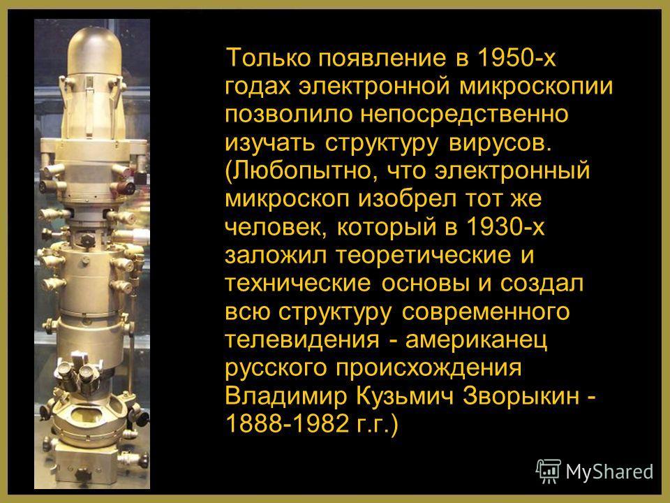 Только появление в 1950-х годах электронной микроскопии позволило непосредственно изучать структуру вирусов. (Любопытно, что электронный микроскоп изобрел тот же человек, который в 1930-х заложил теоретические и технические основы и создал всю структ