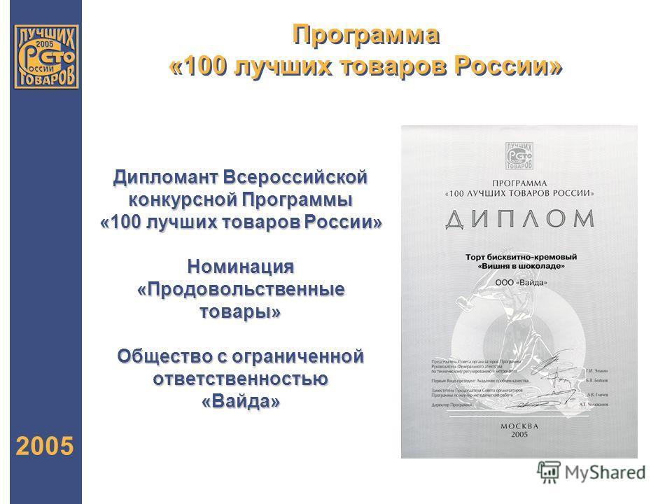 Программа «100 лучших товаров России» 2005 Дипломант Всероссийской конкурсной Программы «100 лучших товаров России» Номинация «Продовольственные товары» Общество с ограниченной ответственностью «Вайда»