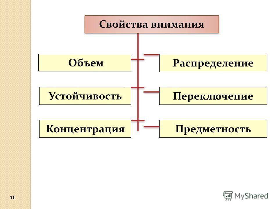 Свойства внимания Объем Устойчивость Концентрация Переключение Распределение Предметность 11
