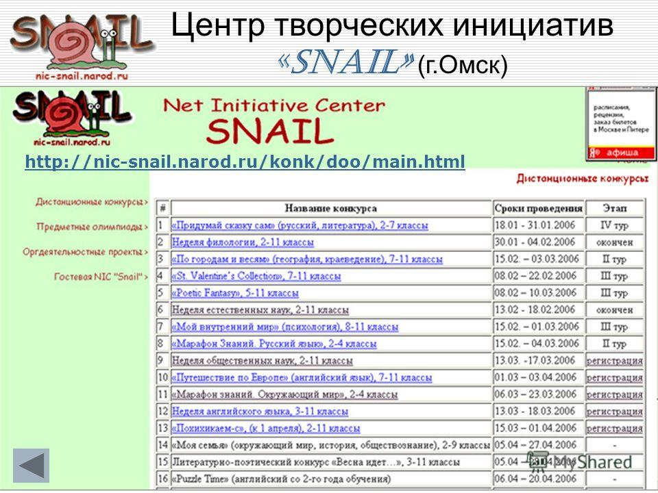 Центр творческих инициатив «SNAIL» (г.Омск) http://nic-snail.narod.ru/konk/doo/main.html