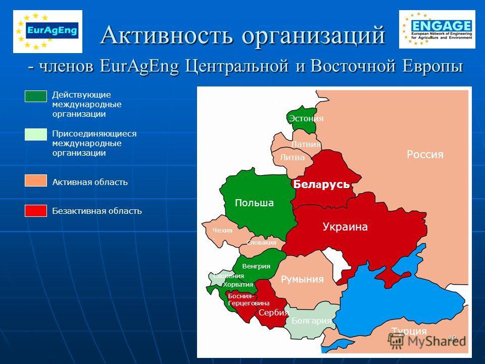 Активность организаций - членов EurAgEng Центральной и Восточной Европы Действующие международные организации Присоединяющиеся международные организации Активная область Безактивная область Румыния Болгария Венгрия Словакия Чехия. Польша Хорватия Сло
