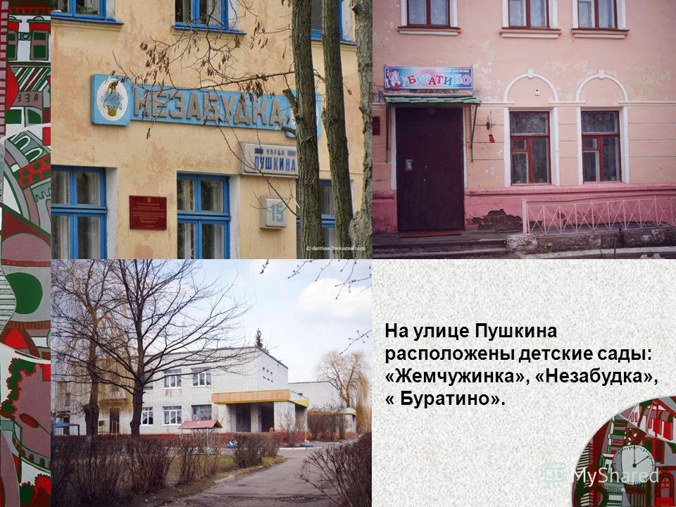 На улице Пушкина расположены детские сады: «Жемчужинка», «Незабудка», « Буратино».