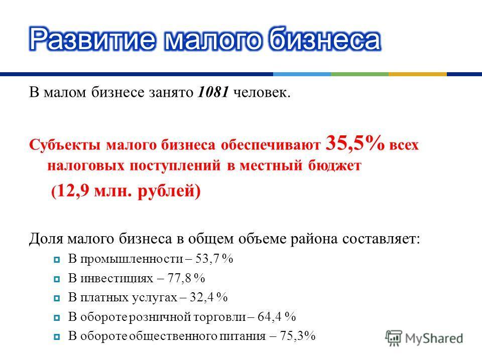 В малом бизнесе занято 1081 человек. Субъекты малого бизнеса обеспечивают 35,5% всех налоговых поступлений в местный бюджет ( 12,9 млн. рублей ) Доля малого бизнеса в общем объеме района составляет : В промышленности – 53,7 % В инвестициях – 77,8 % В