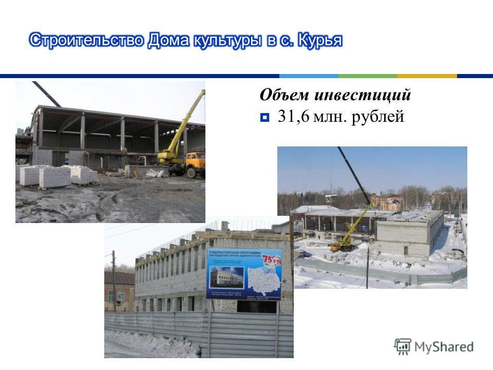 Объем инвестиций 31,6 млн. рублей