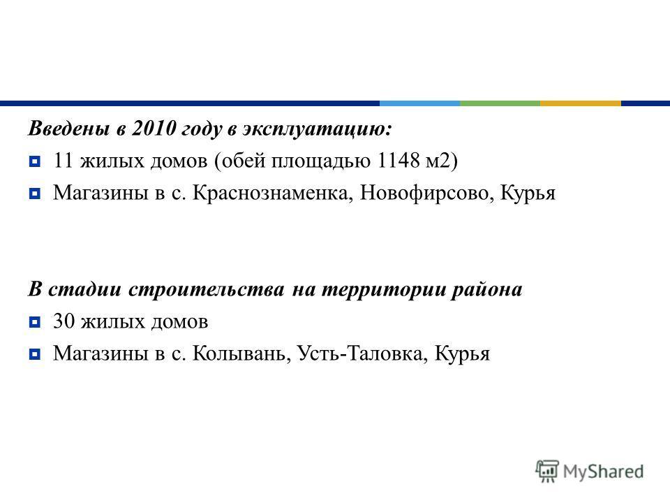 Введены в 2010 году в эксплуатацию : 11 жилых домов ( обей площадью 1148 м 2) Магазины в с. Краснознаменка, Новофирсово, Курья В стадии строительства на территории района 30 жилых домов Магазины в с. Колывань, Усть - Таловка, Курья
