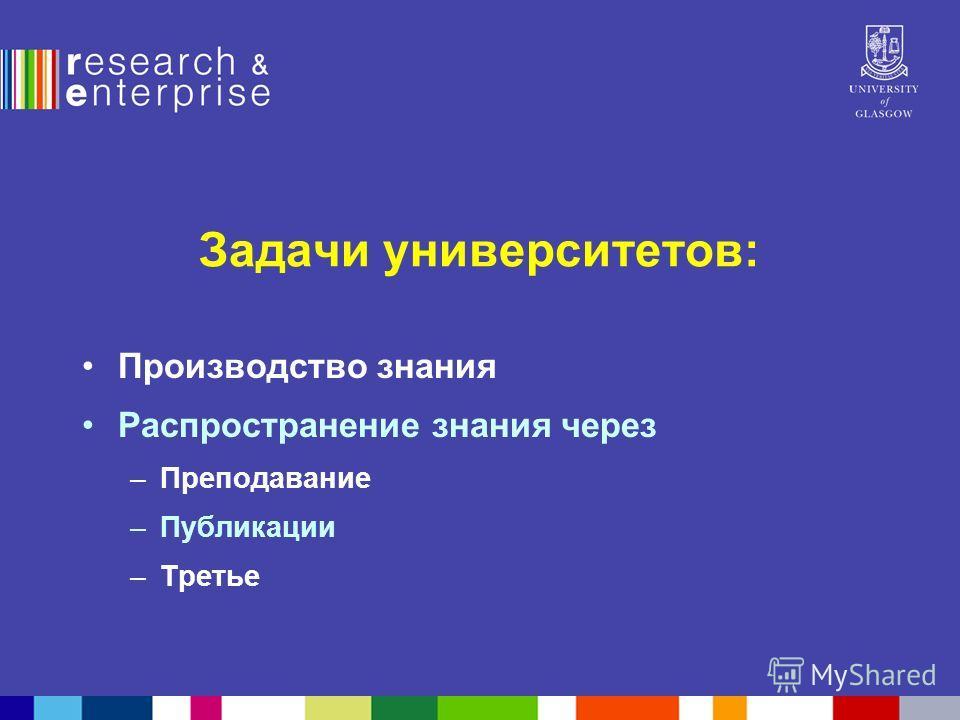 Задачи университетов: Производство знания Распространение знания через –Преподавание –Публикации –Третье