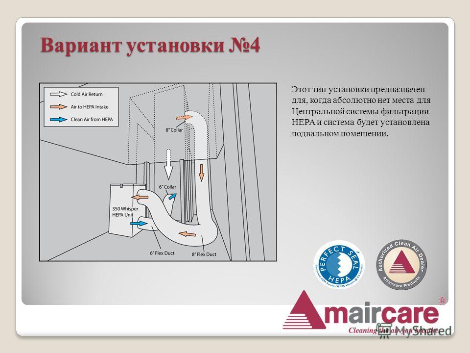 Вариант установки 4 Этот тип установки предназначен для, когда абсолютно нет места для Центральной системы фильтрации HEPA и система будет установлена подвальном помещении.