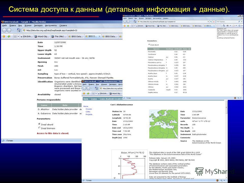 Система доступа к данным (детальная информация + данные).